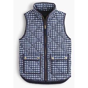 J. Crew Collection Excursion Vest, Blue Gingham XS